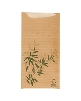 cutlery sachets + napkin 'just in time - feel green' 80 + 10pe gsm + (18gsm) 11,2x22,5 cm natural kraft ribbed (400 unit)