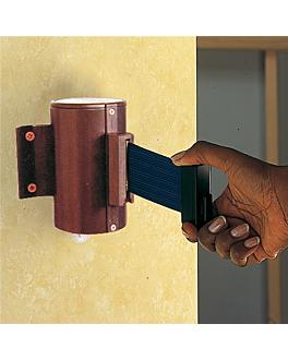 barrera retrÁctil de pared cinta 200 cm 8,1x13 cm azul aluminio (1 unid.)