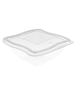 """wave"" salad bowls with hinged lid 500 ml clear rpet (480 unit)"
