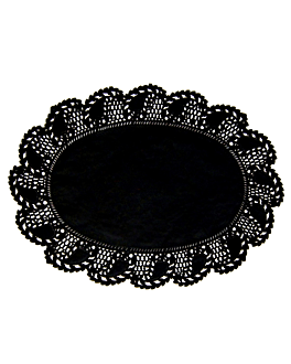 blondas ovales caladas 23x16 cm negro litos (250 unid.)
