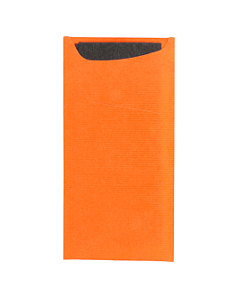 cutlery sachets + napkin 'just in time' 90 + 10pe gsm + (17gsm) 11,2x22,5 m orange cellulose (400 unit)
