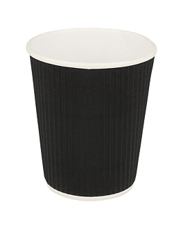 double wall corrugated cups for hot drinks 240 ml 280 + 250 + 18 pe g/m2 Ø8/5,6x9,2 cm black cardboard (1000 unit)