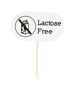 """lactose free"" markers 8 cm white wood (100 unit)"