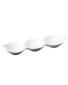 rÉcipients allongÉs 3 comp. 29,5x8,3x4,2 cm blanc porcelaine (12 unitÉ)