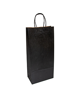 sacchetti sos con manici 2 bottiglie 100 g/m2 18+10x39 cm nero kraft (250 unitÀ)