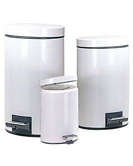 pedal bin with interior receptacle 5 l Ø 20,5x28 cm white steel (1 unit)