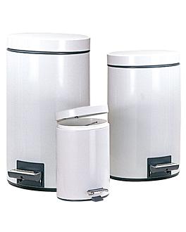 poubelle À pedale avec rÉceptacle intÉrieur 5 l Ø 20,5x28 cm blanc acier (1 unitÉ)