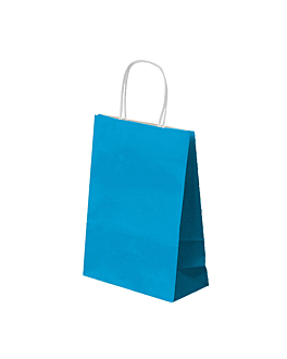 sos bags with handles 80 gsm 20+10x29 cm turquoise blue cellulose (250 unit)
