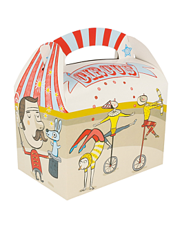 party boxes 'circus' 320 g/m2 17x16x10 cm four coloured cardboard (300 unit)