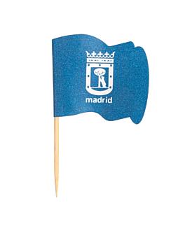 petits drapeaux madrid 4x3/6,5 cm assorti bois (144 unitÉ)
