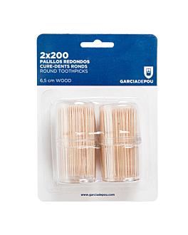 2x200 u. round toothpicks 6,5 (h) cm natural wood (1 unit)