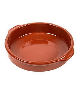 rÉcipient avec anses 850 ml Ø20x5 cm marron ceramique (8 unitÉ)