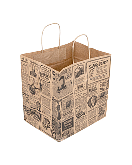 "sos bags with handles ""traiteur"" 'times' 90 gsm 26+20x27 cm natural kraft (250 unit)"