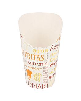 bicchiere per fritti aperto 'parole' 16 oz - 480 ml 220 + 18pe g/m2 Ø8,5x13,5 cm bianco cartone (50 unitÀ)