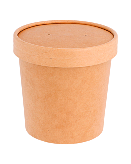 tarrines amb tapa 360 ml 340 + 18 pe g/m2 Ø 9/7,3x8,6 cm natural kraft (250 unitat)