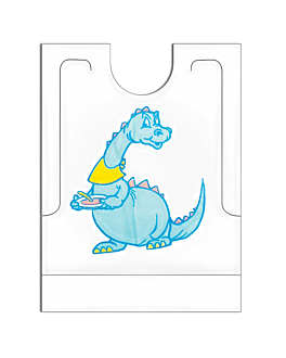 """dino"" bibs with pocket 27x34+5 cm white pehd (500 unit)"