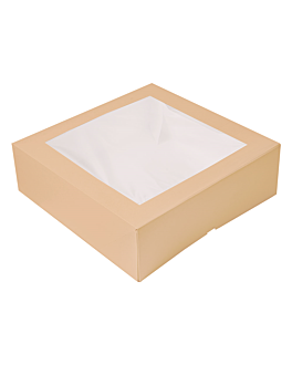 cake boxes with window 'thepack' 240 gsm + opp 32x32x10 cm natural nano-micro corrugated cardboard (100 unit)
