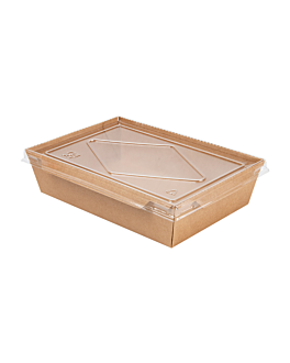 combo recipientes + tapas pet 1200 ml 300 +20 pe g/m2 19,8x13,8x5 cm natural kraft (200 unid.)