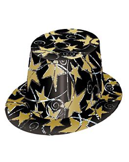 sombreros copa hologrÁficos  negro cartoncillo (1 unid.)
