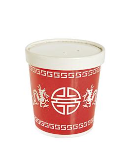 """recipients avec couvercle """"chino"""" 480 ml 9,8x10 cm rouge carton (250 unitÉ)"""
