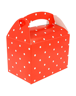"""boÎtes """"À pois"""" 320 g/m2 17x16x10 cm rouge carton (300 unitÉ)"""