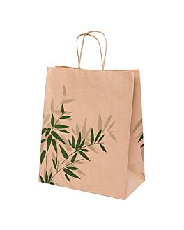 sos bags with handles 'feel green' 80 gsm 26+14x32 cm natural kraft (250 unit)