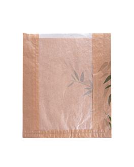 bolsas pan con ventana eco 'feel green' 32 g/m2 26+4x30 cm natural kraft (250 unid.)