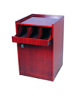 standard cutlery and dinner service cupboard 55x53,5x82 cm reddish brown wood (1 unit)