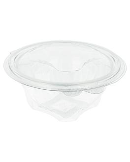 ensaladeras con tapa bisagra 500 ml Ø 13,1x8,4 cm transparente rpet (600 unid.)