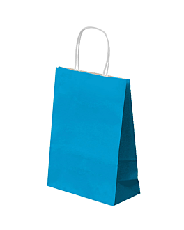 sos bags with handles 80 gsm 26+14x32 cm turquoise blue cellulose (250 unit)