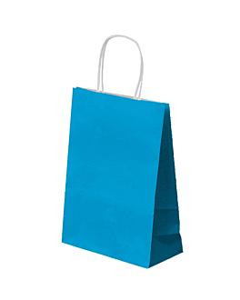 bolsas sos con asas 80 g/m2 26+14x32 cm azul turquesa celulosa (250 unid.)