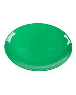 assiettes ovales 25,5x18 cm vert melanine (15 unitÉ)