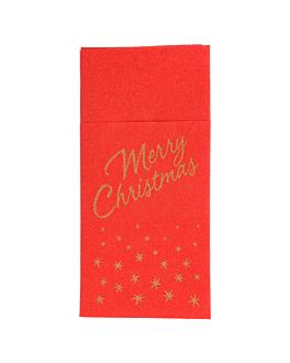 serviettes soft kangourou 'merry christmas' 55 g/m2 40x40 cm rouge dry tissue (720 unitÉ)