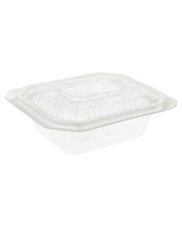 barquillas + tapas microondables 250 ml 13,9x11,9x3 cm transparente pp (600 unid.)