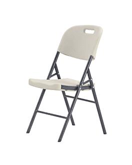 sedie pieghevoli 50x45x88 cm crema pe (4 unitÀ)