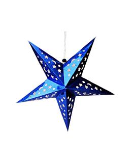 estrellas colgantes Ø 30 cm azul papel (10 unid.)