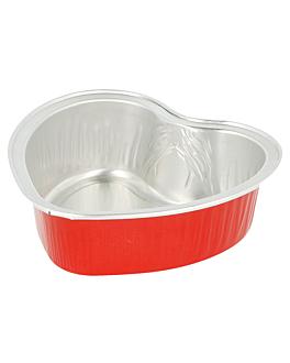 recipientes pastelerÍa 100 ml 8,8x8,8x3 cm rojo aluminio (100 unid.)