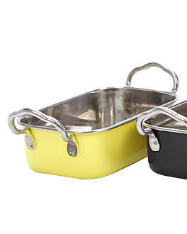 mini bac avec anses 14,5x9,5x4,5 cm jaune inox (6 unitÉ)