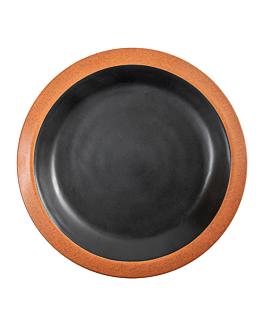 piatti 650 ml Ø25,4x3,4 cm nero melamina (12 unitÀ)