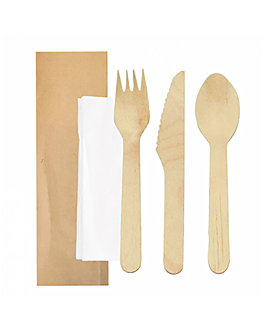 set cutlery, napkin wrapped kraft 'makan' 16 cm natural wood (100 unit)
