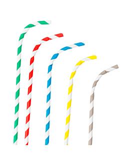 flexible striped straws Ø0,60x23 cm assorted paper (250 unit)