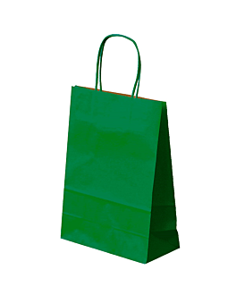 sos bags with handles 80 gsm 26+14x32 cm green kraft (250 unit)