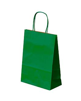 bolsas sos con asas 80 g/m2 26+14x32 cm verde kraft (250 unid.)