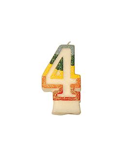 bougies anniversaire n.4 givre 9 cm blanc cire (24 unitÉ)