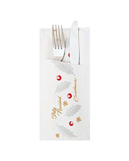 bolsa para cubiertos + servilleta blanca 'new noËl' 90 g/m2 33 x 40 cm blanco celulosa (250 unid.)