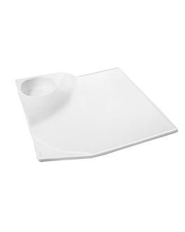 assiettes carrÉes 25,4x4,5 cm blanc porcelaine (4 unitÉ)