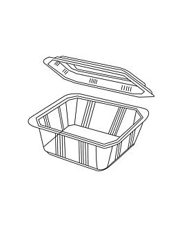 barquillas + tapas microondables 375 ml 13,9x11,9x5 cm transparente pp (600 unid.)