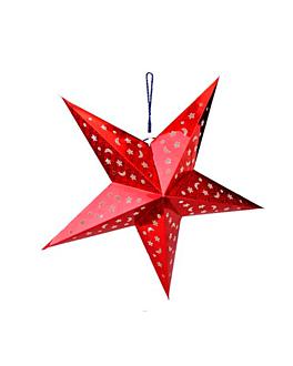 estrella con luz leds Ø 60 cm rojo (10 unid.)