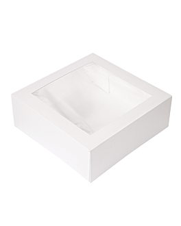 cake boxes with window 'thepack' 250 gsm + opp 28x28x10 cm white nano-micro corrugated cardboard (100 unit)