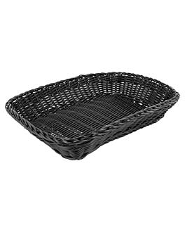 cestas sÍmil mimbre rectangulares 30x22x7 cm negro pp (12 unid.)